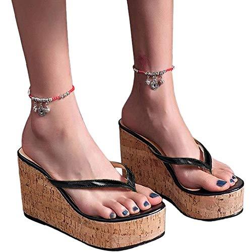AFANG Zapatillas Exteriores Moda Mujer, Tacón Alto Impermeables, Antideslizantes Plataforma Sola Palabra Zapatos Playa Sandalias Plataforma Cómodas Mujer Sandalias,A,39