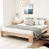 Moiitee Cama de madera de 140 x 200 cm, marco de cama de madera maciza, cama doble con cabecero, muebles de dormitorio para adultos, niños, adolescentes