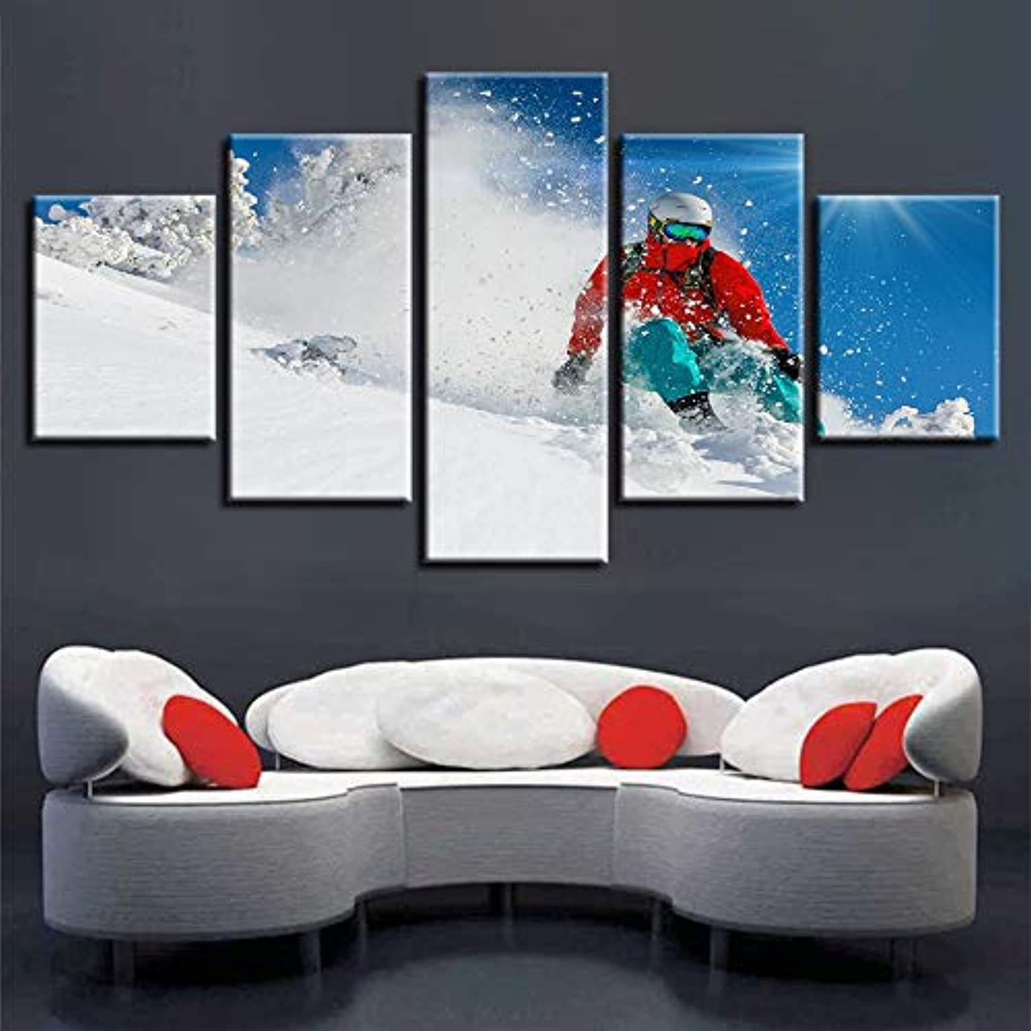 Canvas Painting HD Printed Poster for Living Room 5 Panel Snow Mountain Skiing Home Decor Framework Modern Picture