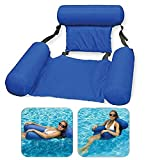 LOVEYIKOAI Water Hammock Pool Toys,Inflatable Ride-ons Swimming Pool Beach Floating Recliner Inflatable Water Floating Bed Lounge Chair Swimming Pool Beach Float for Adult or Kids (Blue)