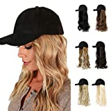 AynnQueen Baseball Cap with Hair Extensions for Women Adjustable Hat with Synthetic Wig Attached 24inch Long Wavy Hair Black Baseball Cap (Medium Brown)