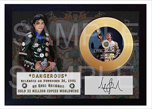 SGH SERVICES Michael Jackson Dangerous Mini-Schallplatte, gerahmt, goldfarben