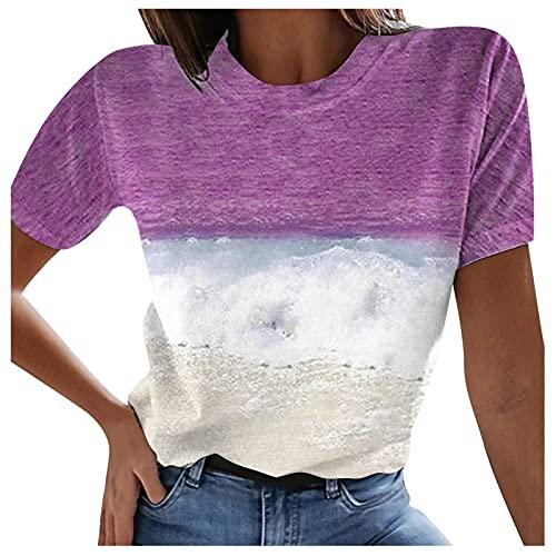 Damen Elegante Kurzarm T-Shirt Beiläufig Farbblock Shirt Sommer Lose Shirt Tees Kurz Rundhals Tunic Sport Oberteile Teenager Mädchen Casual Slim Fit Colorblock Tunika Bluse Hemd Tops