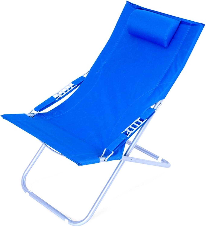 Folding lounge chair   lunch break   simple siesta chair   canvas sun beach chair ( color   bluee )