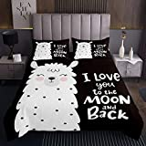 Nettes Lama Steppdecke Karikatur Lama Alpaka Muster Bettüberwurf 170x210cm Schwarz Weiß Tier Thema Tagesdecke für Kinder Jungen Mädchen Schöne Tierwelt