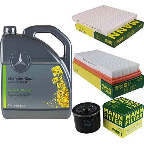Filter Set Inspektionspaket 5 Liter Original Motoröl 5W-30 MB 229.51 MANN-FILTER Innenraumfilter Luftfilter Ölfilter
