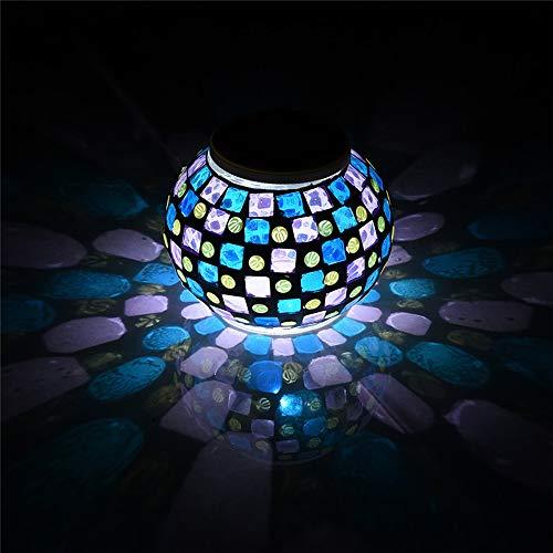 Gartenleuchten Solar Mosaik Glaskugel, ZONCENG1 Farbwechsel-LED Sonnenlicht Wasserdicht SolarbetriebenTischlampen für Schlafzimmer Nachtlicht für Innen- oder Außendekorationen (Lila und blau)
