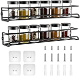 GEEDIAR Spice Racks Organiser - 2 Tier Hanging Stainless Steel Spice Racks Wall Mounted with Adhensive Stickder & Screws - Kitchen & Pantry Shelf for Spices and Condiments, Spice Jars (Black)