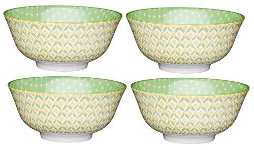 Kitchen Craft AMZKCBOWL11SET4 Lot de 4 Bols en céramique à Motifs Jaune 15,5 cm, Vert géométrique, 15,5 x 15,5 x 7,5 cm