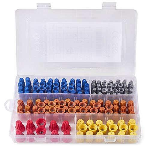 220Pcs Wire Nuts Assortment, Kuject Twist Nuts Caps Kit Electrical Wire Connectors With Spring AWG 22-10 Screw Terminals For Automotive Truck Trailer Wire Joint
