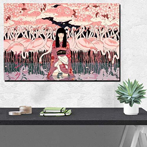 Home Decor bedrukte wandkunst canvas schilderij kimono meisjes In The Flamingo poster wallpaper modulaire foto-60cmx90cm No Frame