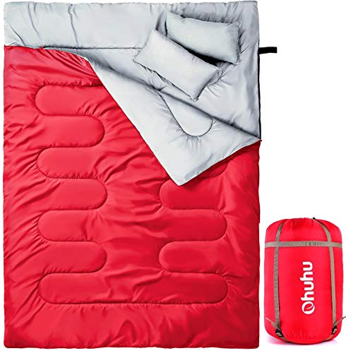 Ohuhu Double Sleeping Bag, Red with 2 Pillows and a Carrying Bag for Camping, Backpacking, Hiking