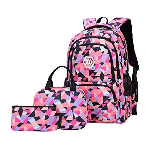 SellerFun Girl Geometric Printed Primary Junior High University School Bag Bookbag 3pcs Backpack Sets(2# Black-3pcs,35L)