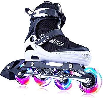 PAPAISON Adjustable Inline Skates for Kids and Adults with Full Light Up Wheels  Outdoor Roller Skates for Girls and Boys Men and Women