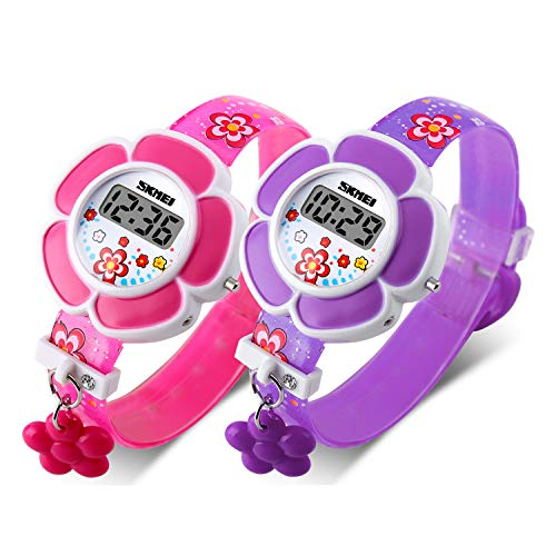 Kids Watch Girl Flower Shape Watch Novelty Cartoon Digital Watch 1144 (2 Pieces(Pink+Purple))