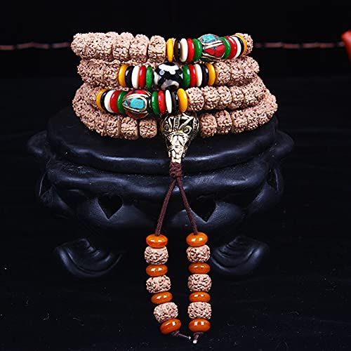 cakunmik 108 Pulseras Naturales, Cuentas budistas, Collar, 7 * 9mm Tibetano Vajra Bodhi, Pulseras para Hombres y...