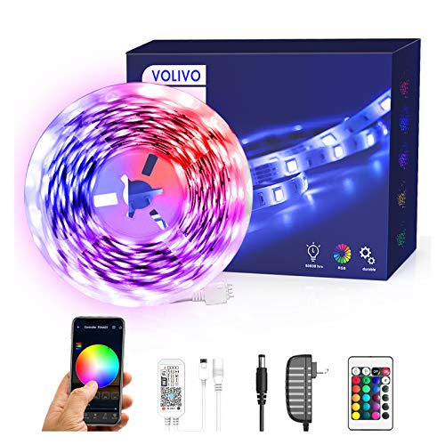 Volivo Smart WiFi Led Strip Lights 16.4ft, 1 Roll of 16.4ft RGB 300 LEDs Color Changing Led Strip Lights Compatible with...