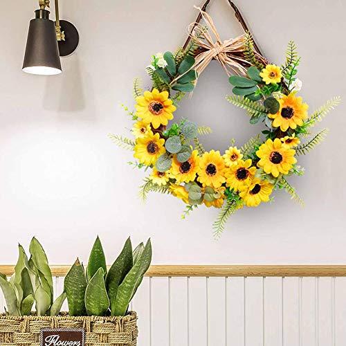 ppol Artificial Sunflower Hanging Wreath,Natural Garlands Door Wreaths,Fall Door Wall Wreath Ornament Garland Halloween Thanksgiving Day Autumn Window Decorations