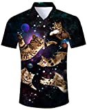 Fanient Mens Hawaiian Shirts 3D Fly Cat Novelty Aloha Shirt Summer Camp Beach...