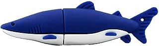 USBフラッシュディスク クリエイティブ 漫画のサメ ポータブル 高速 PVC 4G / 8G / 16G / 32G / 64G USB3.0最大100 MB/sの転送速度 安全で安定した コンピュータTVプレイヤーカー用 (32GB, 青)