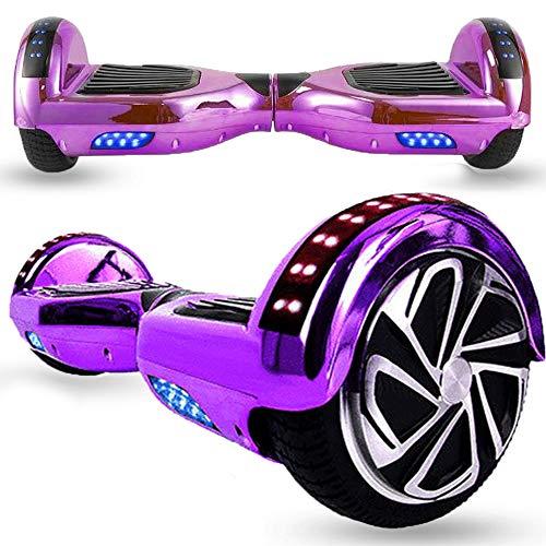 Magic Vida Hoverboard - 6.5' - Bluetooth - Motor 700 W - Velocidad 15 km/h - LED - Patinete Eléctrico Auto-Equilibrio - Para niños y adultos - Cromo Púrpura