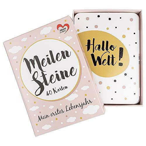 Meilensteinkarten Baby | 40 Stück | 10,5 cm x 14,8 | Ereigniskarten | Für Mädchen & Jungen | Modernes Design | inkl. Geschenkbox (rosa)