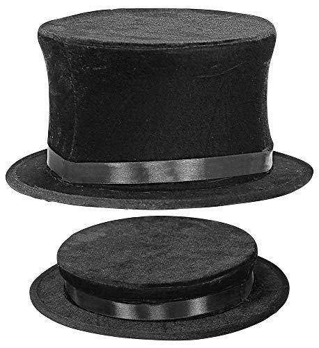 shoperama Samt-Zylinder klappbar Schwarz Damen Herren Gr. 57-60 Chapeau Claque Klappzylinder Hut Zauberer Kabarett Gentleman