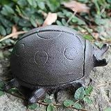 Hmy LRWstatues Artesanías de Hierro Fundido Europeo Retro Escarabajo de Hierro Adornos Caja Clave jardín hogar Decoraciones Caja de Almacenamiento latas