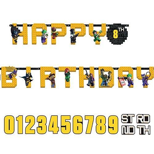 Guirnalda «Happy Birthday» con hueco para edad de LEGO Batman, 3,2m x 25cm