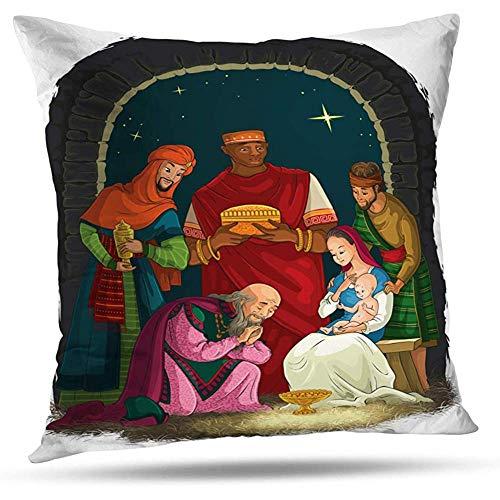LisaArticles Funda De Cojín,Belén con Jesús María Y Los Reyes Magos Decoración del Hogar Funda De Almohada con Cremallera 45Cm*45Cm