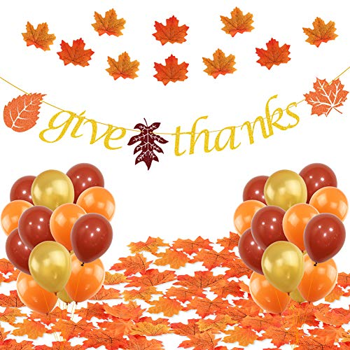 K KUMEED Give Thanks Party Decorations, Give Thanks Banner Maple Leafs Latex Balloons for Fall Theme Thanksgiving Day Home Decoration Party Favors