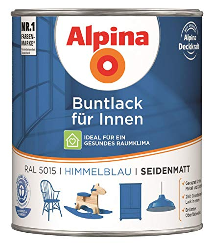 Alpina Buntlack Metalllack 0,75L himmelblau Ral 5015 seidenmatt Innen