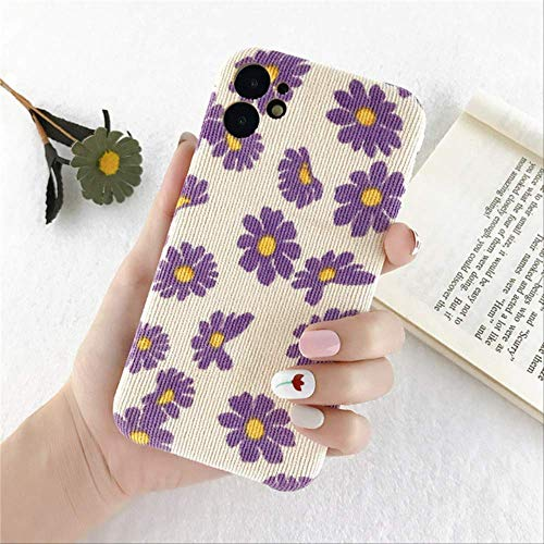 Cloth Texture Flower Phone Case For iPhone 11 Pro X XR XS Max 8 7 Plus SE 2020 Plush Canvas Fabric Protection Soft PU Back Cover For iPhone SE 2020 39