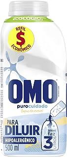 Lava-Roupas Líquido para Diluir Omo Puro Cuidado Frasco 500ml Refil Econômico, OMO