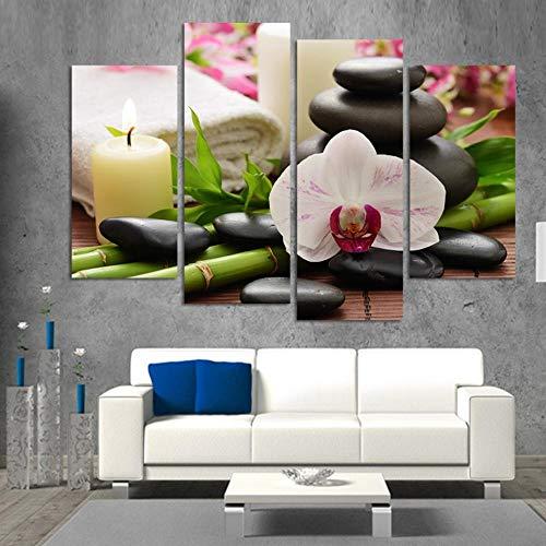 Nobrand muurkunst met HD-druk, 4-delig, kaars, bamboe, orchidee, kamerdecoratie, 30 x 60 cm, 30 x 80 cm, zonder lijst