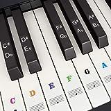 Pegatina de Piano Pegatinas de Teclados de Piano para 37, 49, 54, 61, 88 Teclas, Fansjoy Reemplazo Pegatinas Teclado de Piano Pegatina de Notas para Niños Principiantes, Transparentes y Extraíbles