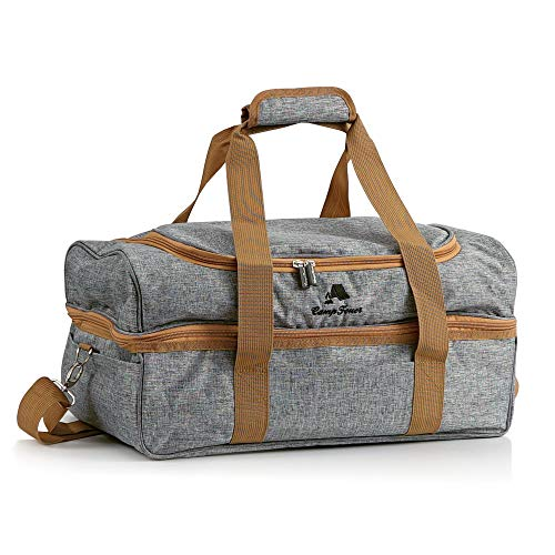 CampFeuer Picknicktas voor 4 personen | Picknickset 20-delig | grijs | met zijvakken, servies en bestek