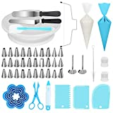 Kootek 103 Pieces Cake Decorating Kit Baking Supplies Set with Revolving Cake Turntable, Cake Leveler, Cookie Cutter, Piping Tips, Frosting Pastry Bags, Icing Spatula Smoother, Cake Scrapers