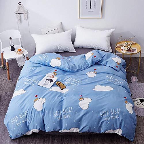 Goodlife-1 Sábanas De Verano Juego de Funda nórdica y Funda de Almohada Ropa de Cama Funda de edredón Individual Doble King Super King-Azul_El 160x210cm
