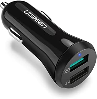 Ugreen [4.8Amp - 2 Port] High Speed Car Charger for All Smartphones & Tablets Fast Charging, Qualcom Technology Quick Charging (Black)