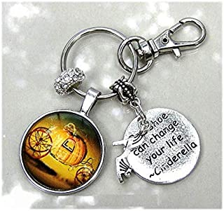 Cinderella Keychain Personalize Birthstone Crystal Purse Charm Clip On Gift