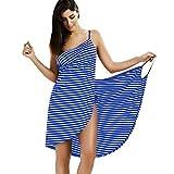 IAMZHL Toalla Textil para el hogar Toallas para Mujer Baño Toalla a Rayas vestible Niñas Secado rápido Playa SPA Ropa de Dormir mágica Dormir-Blue-5-XXL