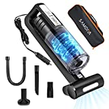 Portable Car Vacuum Cleaner 12V Power 100W Hand Car Vacuum Cleaner with 16.4 Foot Cable Rolling Brush, LED Light 6000Pa for Pick up Pet Hair, Dust, Food Residue Handheld Car Vacuum for Wet Dry Use