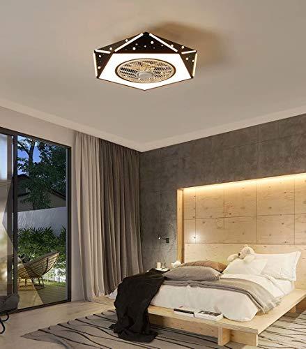 Habitación infantil Fan Light Lámpara de techo LED Ventilador de techo invisible con iluminación Regulable Velocidad del viento ajustable Ventilador de techo silencioso,Control remoto, Ø53cm