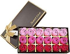 Idea Regalo - 18 pezzi di sapone ai fiori di rosa - profumo di fiori di rosa - sapone essenziale per piante, compleanno/anniversario/matrimonio/regalo di San Valentino (rosa rossa)