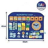 Ludi 2115 Pannello Calendario per imparare l'ora, la data, le stagioni, il tempo, Blu