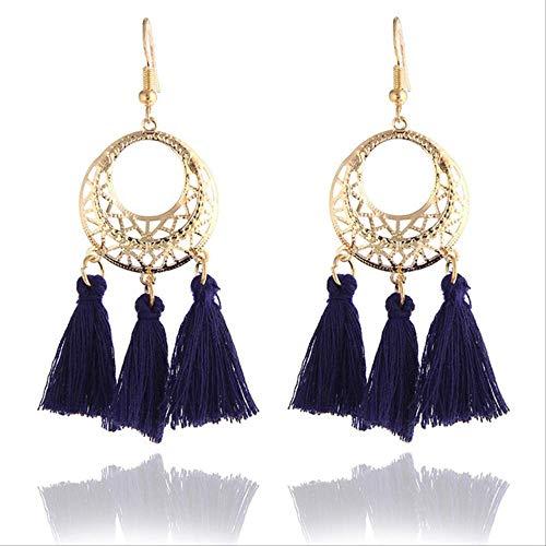 Geschenken Oorbellen Kwast Druppel oorbellen Zwart Vintage kwast oorbellen Lange oorbel Grote bengelen Vrouwe0267blauw