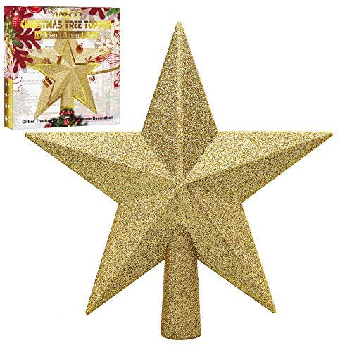 Aneco Puntale per albero di Natale, infrangibile, decorazione per albero di Natale, con glitter, per festività e la casa