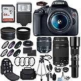 Canon EOS Rebel T7 DSLR Camera + Canon EF-S 18-55mm + Canon 75-300mm & 500mm Telephoto Lens + Wide Angle & Telephoto Lens + Macro Filter Kit + 64GB Memory + Accessory Kit (Renewed)