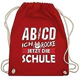 Shirtracer Einschulung und Schulanfang - ABCD Ich rocke jetzt die Schule - Unisize - Rot - turnbeutel ich rock die schule - WM110 - Turnbeutel und Stoffbeutel aus Baumwolle
